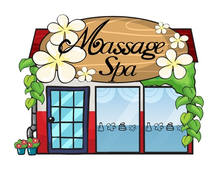 medical building: Illustration of a massage spa on a white  background