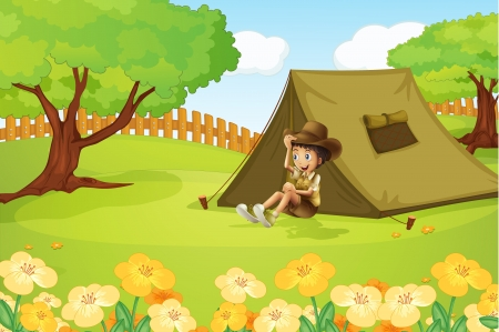 Illustration of a boy and camping tent in a beautiful nature Vector