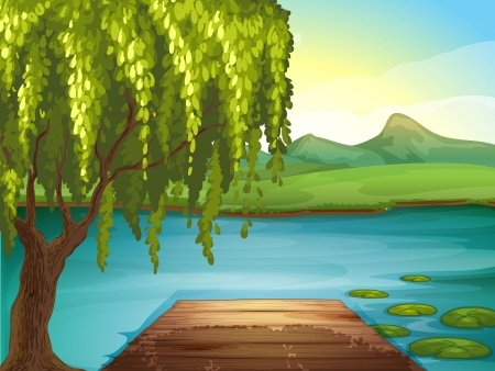 sunset lake: Illustration of a river and a wooden bench in a beautiful nature