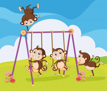 Illustration of monkeys playing on swing in a beautiful nature Stock Vector - 17082616