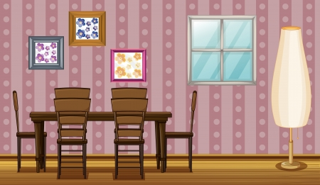 Illustration of a dinning table in a room Vector