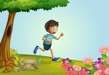 man in field: Illustration of a boy running in a garden Illustration