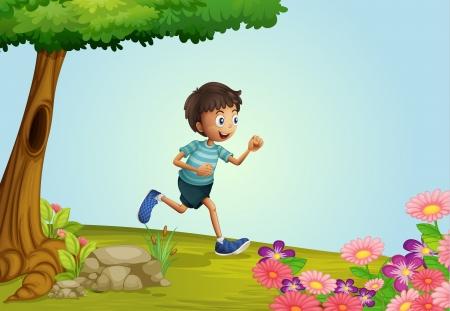 Illustration of a boy running in a garden Stock Vector - 17082748