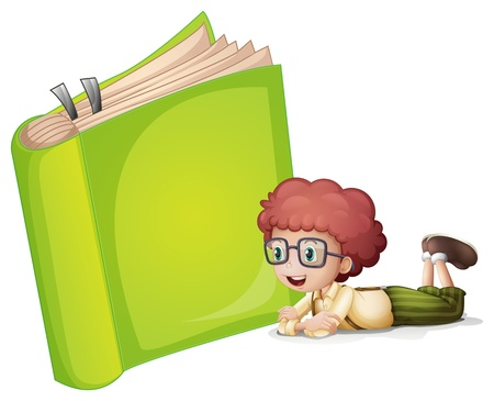 read book: Illustration of a girl lying near a green book
