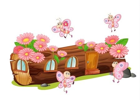 house: Illustration of a wood house and butterflies in a beautiful nature