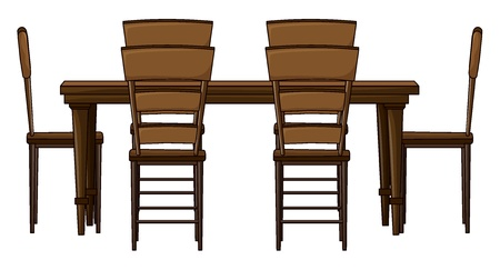 Illustration of a wooden dinning table on white Vector