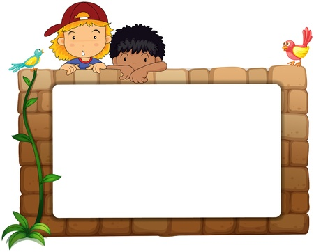 Illustration of kids with white board on wall Stock Vector - 17082703