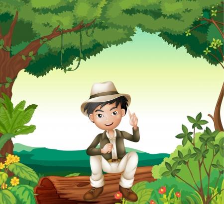 niÑos hablando: Ilustración de un muchacho en la hermosa naturaleza verde Vectores
