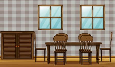 Illustration of a dinning table and wardrobe in a room Vector