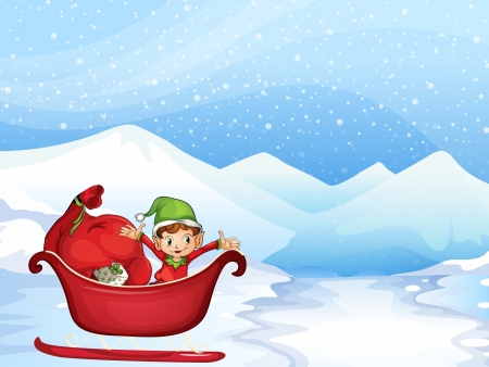 Illustration of a boy in santa costume in a red boat Vector