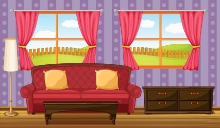 Illustration of a red sofa and side table in a room Vector
