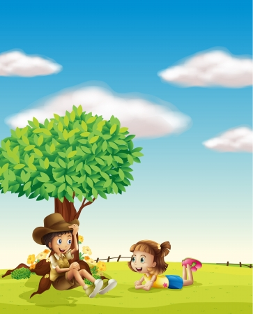 Illustration of a boy and a girl in a beautiful nature Illustration