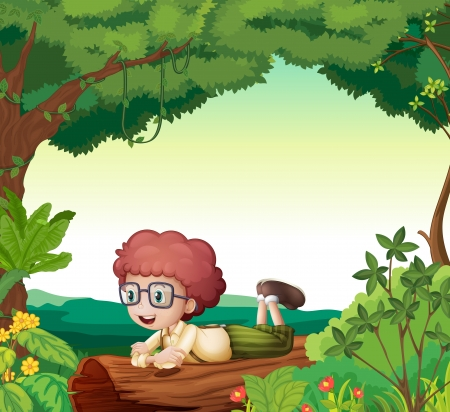 lying in: Illustration of a boy lying on a dry wood in a beautiful nature