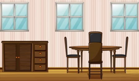 Illustration of a wooden furniture and window in a room Vector