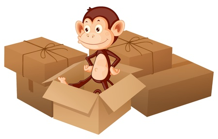 Illustration of a smiling monkey and boxes on a white background Stock Vector - 17082635