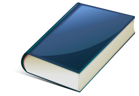hard bound: illustration of blue book on a white background
