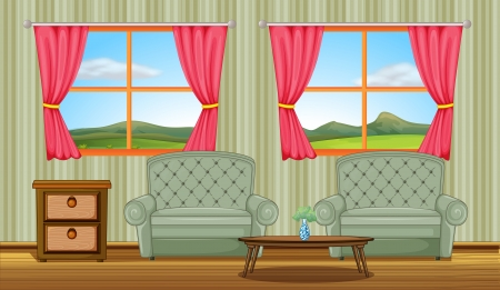 yard furniture: Illustration of a cushion chairs and side table in a room