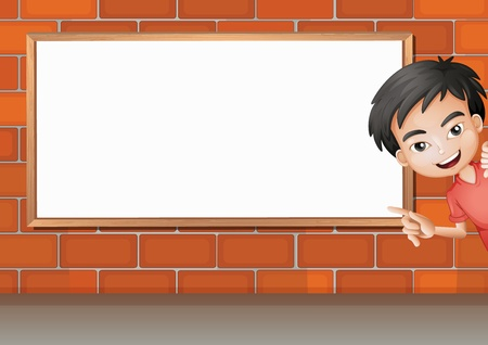 kid pointing: Illustration of a smiling boy and a white board on a brick wall
