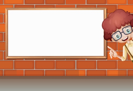 brick road: Illustration of a boy showing white board on brick wall Illustration