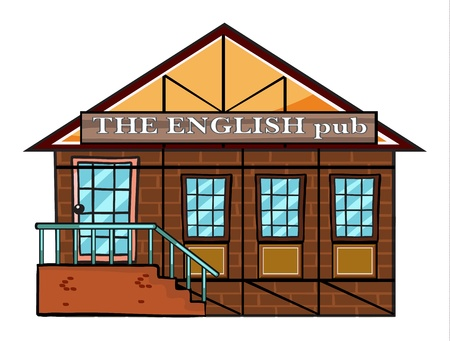 exterior element: illustration of the english pub on a white  background Illustration