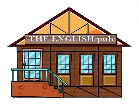 restaurant exterior: illustration of the english pub on a white  background Illustration
