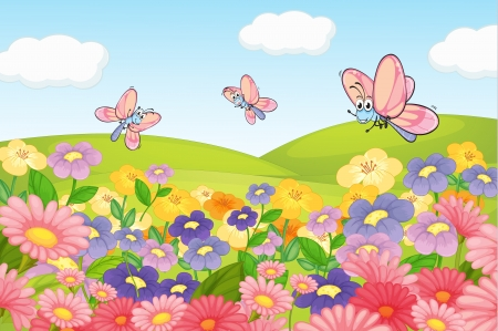 pink hills: Illustration of a flying butterflies in beautiful nature Illustration