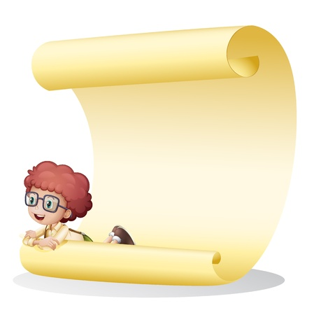 Illustration of a girl and a paper sheet on a white background Vector