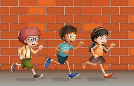 Illustration of kids running near a brick wall Vector