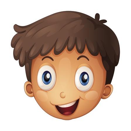 nariz roja: Ilustraci�n de una cara de un muchacho en un fondo blanco Vectores
