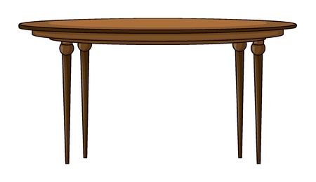 Illustration eines Runden Tisches auf einem weißen Hintergrund