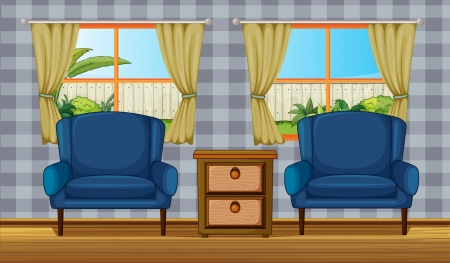 Illustration of a wooden furniture and window in a room Stock Vector - 17082502