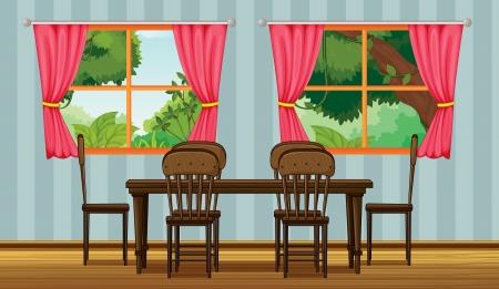 Illustratie van een eettafel in een kamer Stock Illustratie