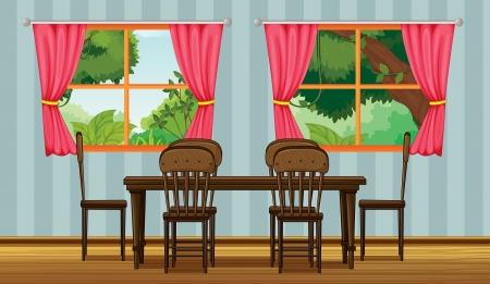 living room window: Illustration of a dinning table in a room