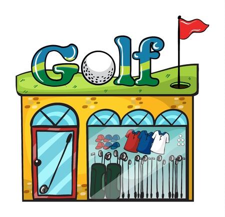 clothing shop: Ilustraci�n de la tienda de accesorios de golf en blanco