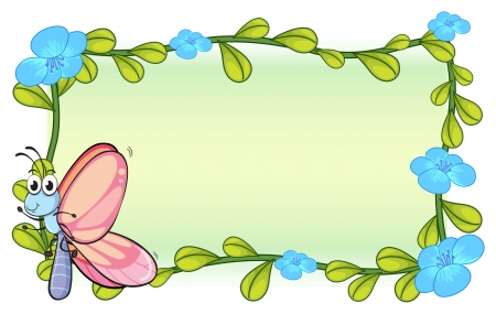 flower border pink: Illustration of a butterfly and a flower plant on a white background