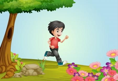 full pant: Illustration of a boy running in a beautiful nature