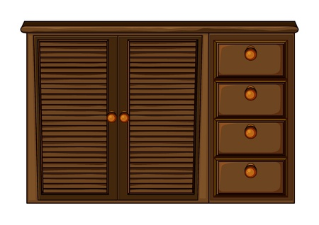 Illustration of cupboard with drawers on white Vector