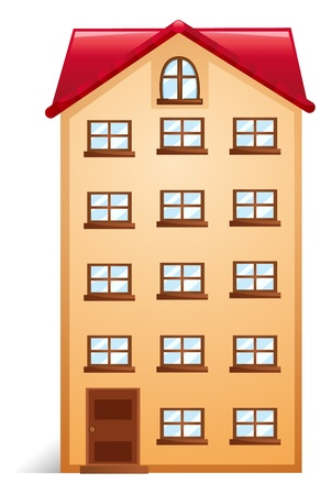 apartment building: Illustration of a house with red roofon a white