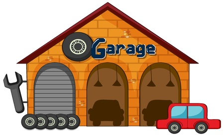 illustration of a garage shop on a white background Vector