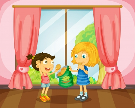 kids eating: Illustration of girls eating cookies in a room