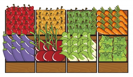 root vegetables: Illustration of various vegetables in tray on white Illustration