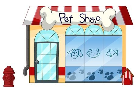 incendio casa: Ilustración de una tienda de mascotas en un fondo blanco