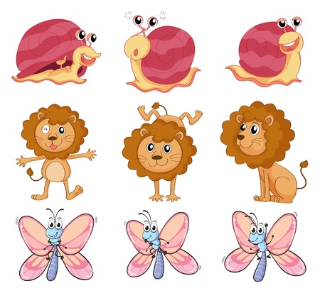Illustration of a lion, a snail and a butterfly on a white background Vector