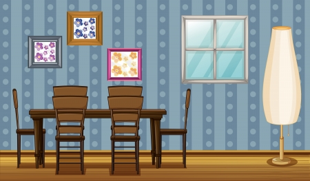 classic living room: Illustration of a wooden furniture and window in a room