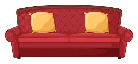 Illustratie van een rode sofa en gele kussen op een witte Vector Illustratie