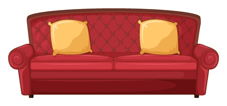 Illustrazione di un divano rosso e cuscino giallo su uno sfondo bianco Vettoriali