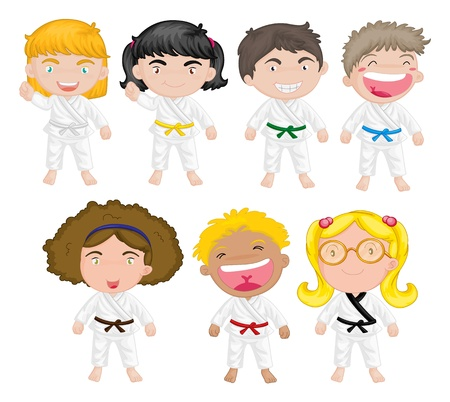 seven: Illustration of karate kids on a white background