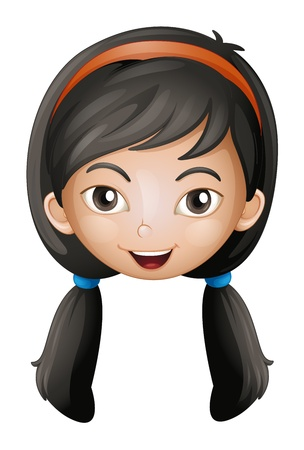girl short hair: Illustration of a face of a girl on a white background Illustration