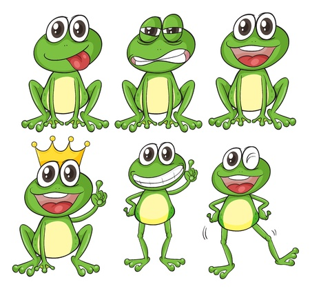 Illustration of green frogs on a white background Illustration