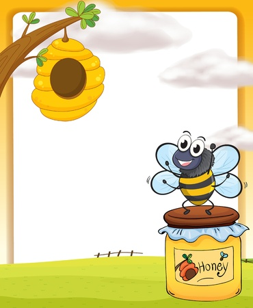 golden pot: Illustration of honey bee and bottle in a beautiful nature